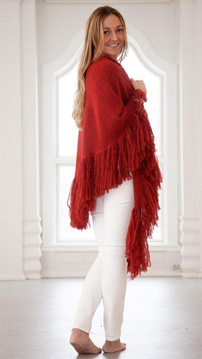 Daisy sjal - Rødt ullsjal